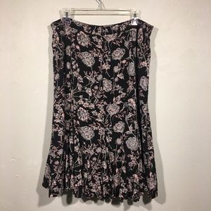 Talbots Skirts - Talbots Black and Pink Floral Flowy Skirt 16